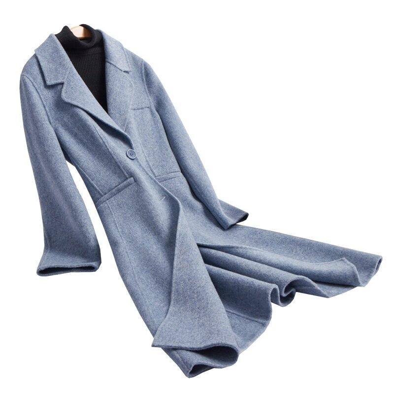 2018 Новая мода Двусторонняя шерстяная фланель женские элегантные длинные пальто одной кнопки тонкий стиль ЕС/S 2XL Розничная и оптовая продаж