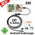 Android otg usb endoscópio camera 2 m lente de 5.5mm câmera endoscópio inspeção cobra tubo ip67 à prova d' água android micro usb
