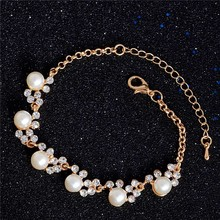 Luxury Gold-Color Crystal Cubic Zircon Simulated Pearl Beads Bracelet For Women