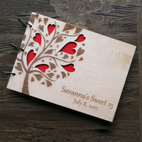 Personalized Guest Book Wedding GuestBook Wood Rustic Wedding Guest Book Love Heart Tree