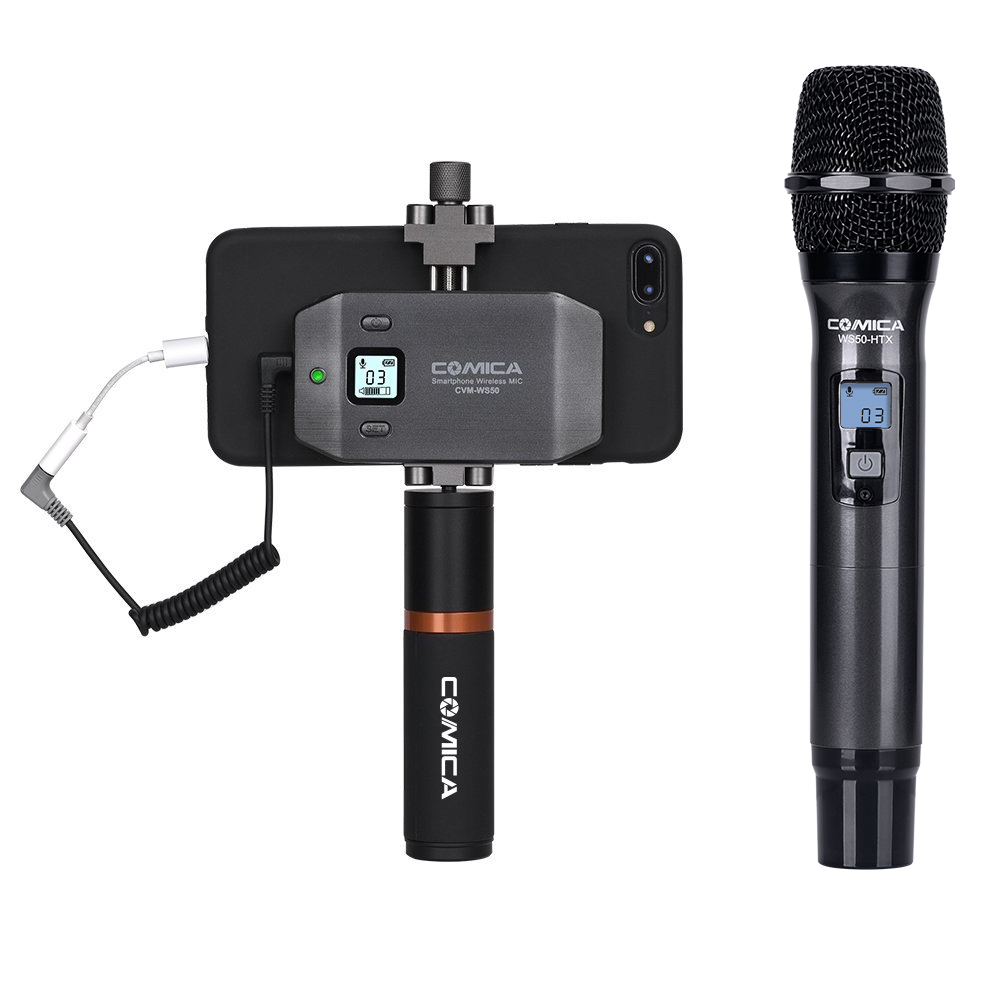 CoMica CVM-WS50H Handheld Wireless Microphone for Smartphone 6Channels 60M Working Range Precise Control Video Interview Podcast