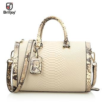 Brilljoy Women Handbags 100% Genuine Leather Bags for Women Crocodile Snake Skin designer brand handbag shoulder bags bolsas BJ2