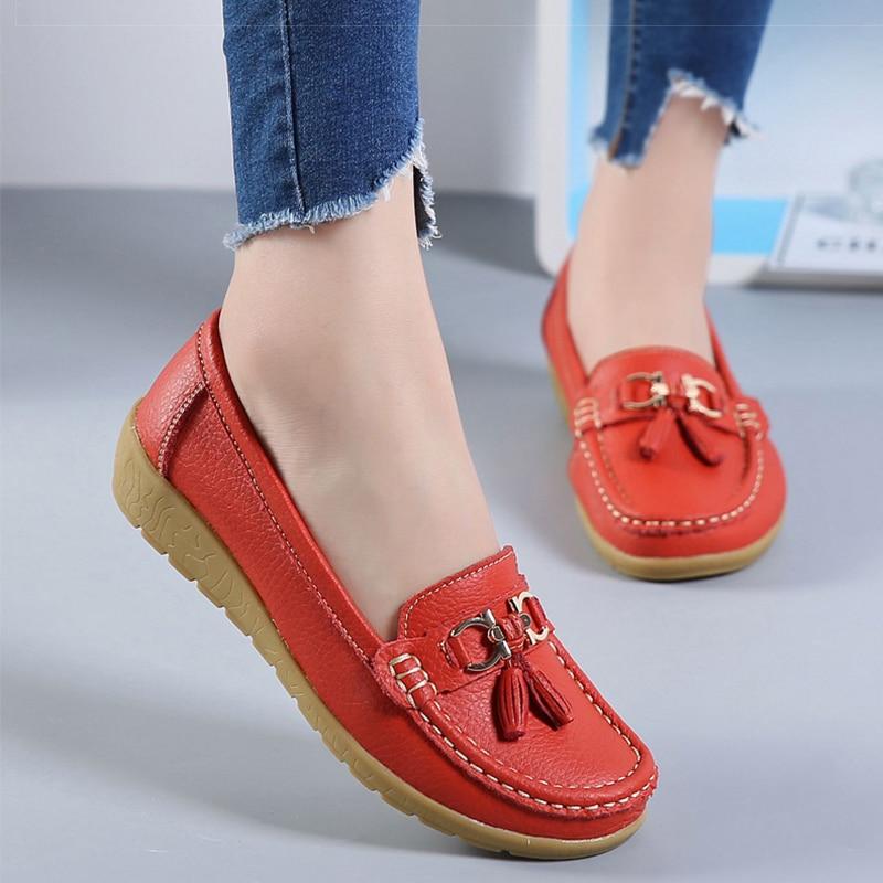 2193d0f89b29 2018 Flats Woman Cow Leather Flats Women Shoes Slip On Women s Shoes  Decoration Big Size 35