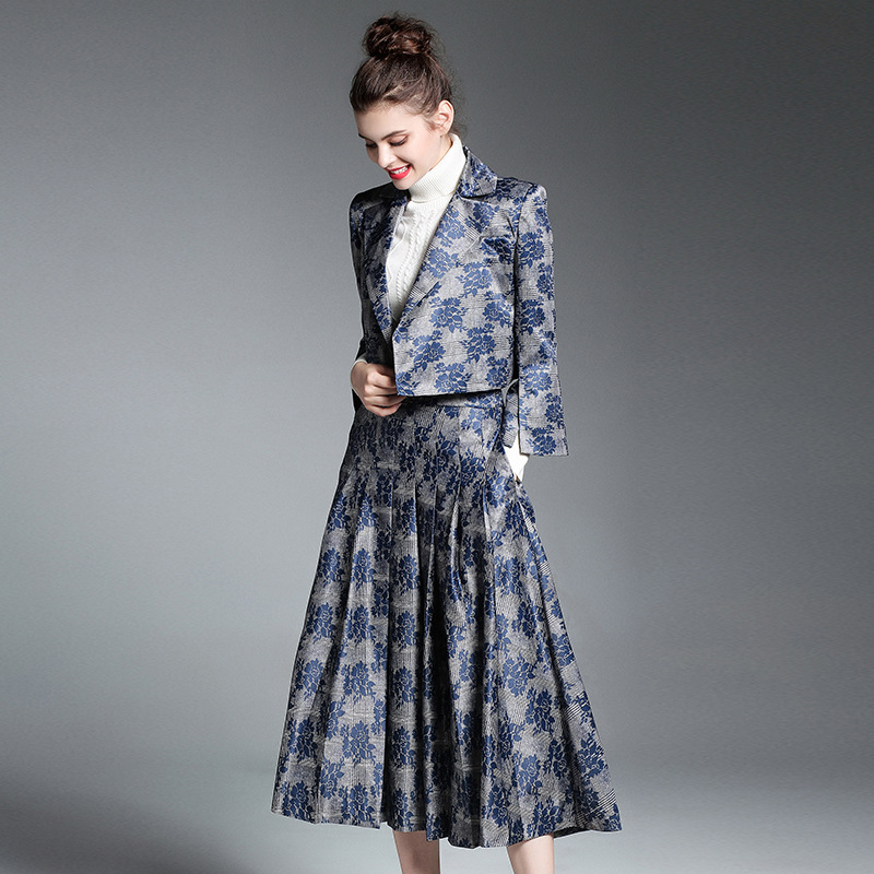 Custom Jacquard Two Piece Set Womens Office Jacket Coat + Skirt Runway Fashion Women 2017 Sets Tops Jackets Autumn Clothing 2017 autumn girl doll shirt the fashionable two piece set of pure color lotus leaf coat with harness sets tide