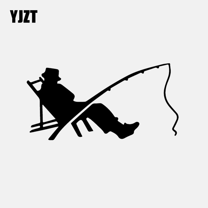 YJZT 15.9CM*8CM Fisherman Fish Fishing Worm Bite Hook Car Sticker Decor Vinyl Decal Black/Silver C24-0809