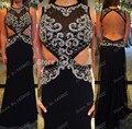 Negro Vestidos de Baile 2015 Nueva Sirena de La Manera Larga de Lujo Crystal Vestidos de Noche Largo de La Gasa de Plata Con Cuentas vestido de Fiesta Sin Respaldo
