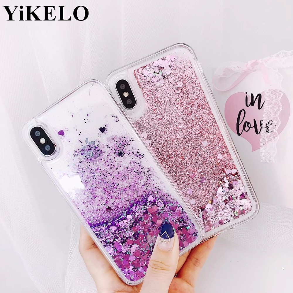 YiKELO Cute Quicksand Cases For iPhone 5s SE Case For iPhone 6 6s 7 8 Plus Case Glitter Liquid Back Cover For iPhone6 S Cases
