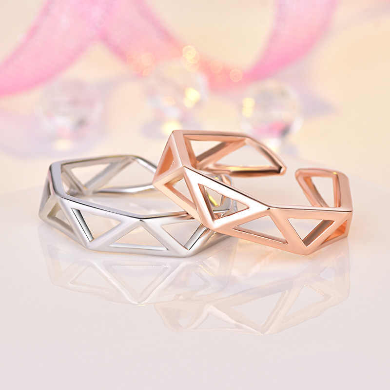 Women Fashion Geometry Adjustable Ring Stereoscopic Hollow Triangle Open Rings Rose Gold And Silver Color Finger Knuckle Ring