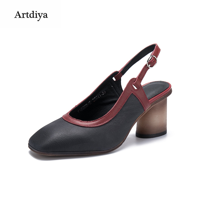 Artdiya Retro High Heels Sandals Genuine Leather Women Shoes 2018 New Spring and Summer Square Toe Rome Handmade Sandals 18208-5 2016 spring and summer free shipping red new fashion design shoes african women print rt 3