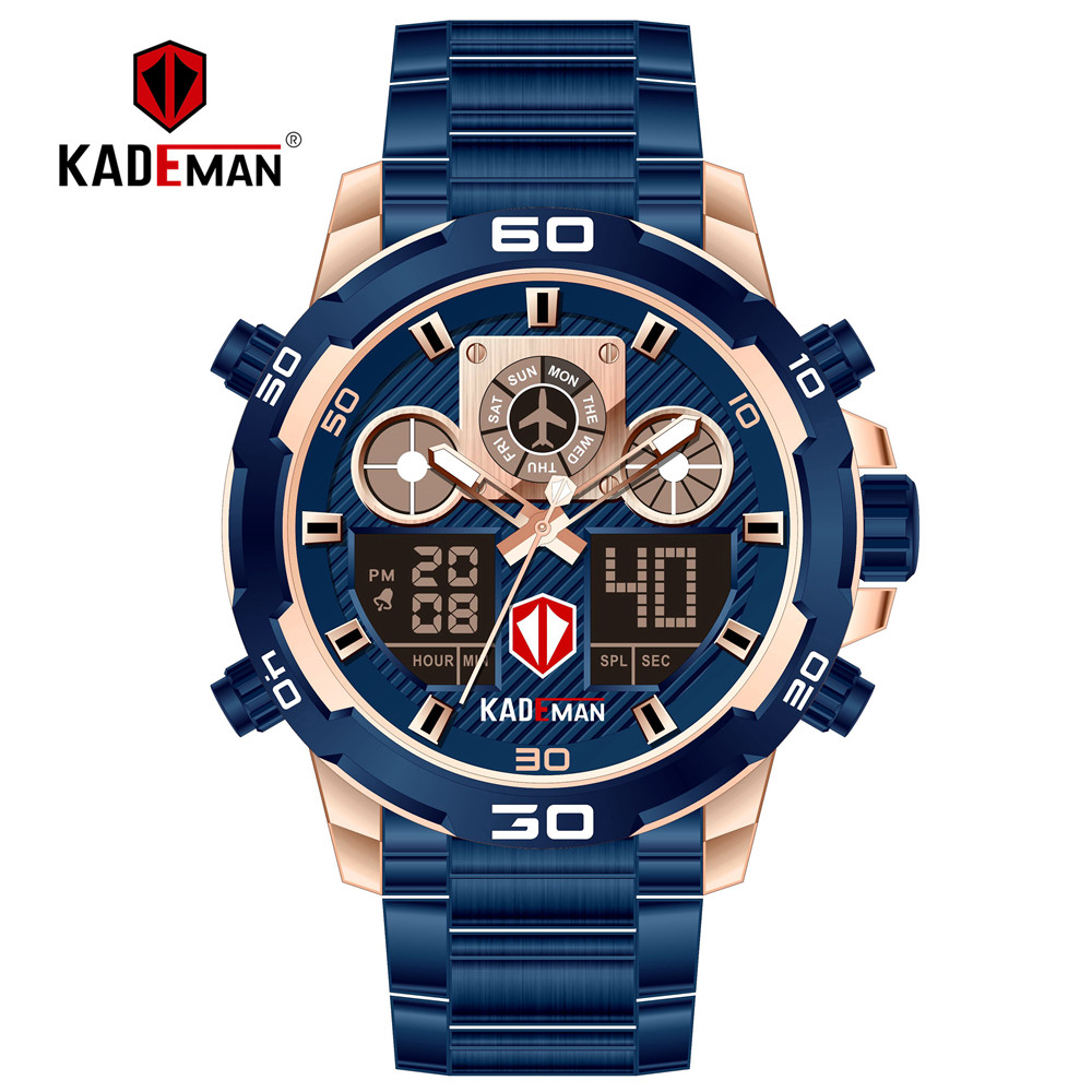 Top Brand Men Sports Watches Dual Display Analog Digital Led Electronic Quartz Wristwatches Waterproof Swimming Military Watch Choice Materials Digital Watches Men's Watches