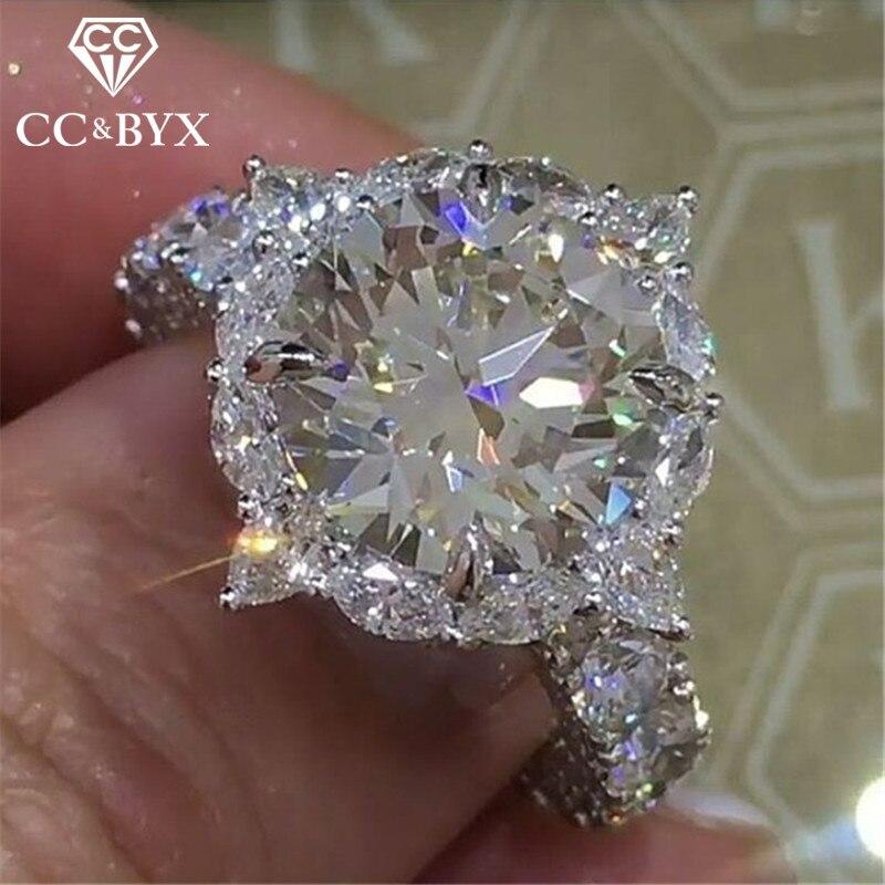 CC Trendy Jewelry Wedding Rings For Women Round Super Flash Big Cubic Zirconia Ring Classic Temperament Bijoux Femme CC2016 ...