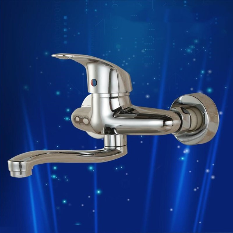 chrome wall mounted Hot and Cold Brass Sink Faucet Bathroom Basin Faucet basin mixer with 24cm pipechrome wall mounted Hot and Cold Brass Sink Faucet Bathroom Basin Faucet basin mixer with 24cm pipe