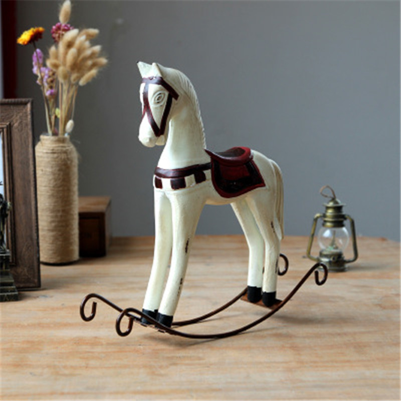 Wooden rocking horse wooden crafts office decoration creative home furnishing articles animals living room