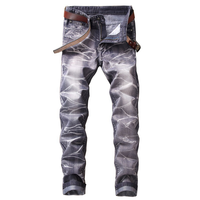 ABOORUN Fashion Mens Distressed Jeans Candy Colors Full Length Straight fit Denim Pants Mens Casual Pants YC1089
