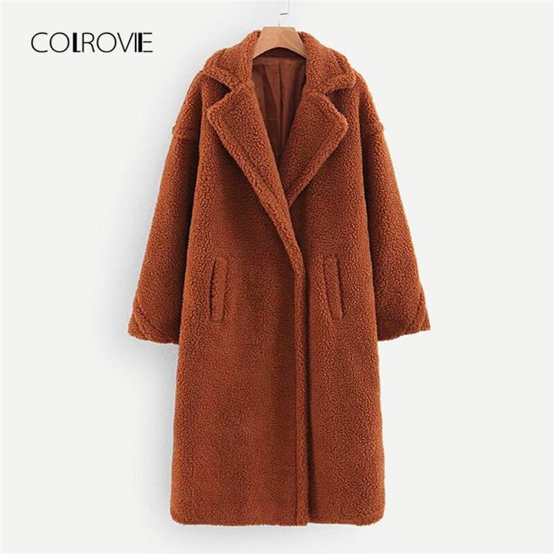 COLROVIE коричневый сплошной карман Открытый спереди повседневное плюшевое пальто для женщин осень 2018 г. Модные теплые длинное офисные