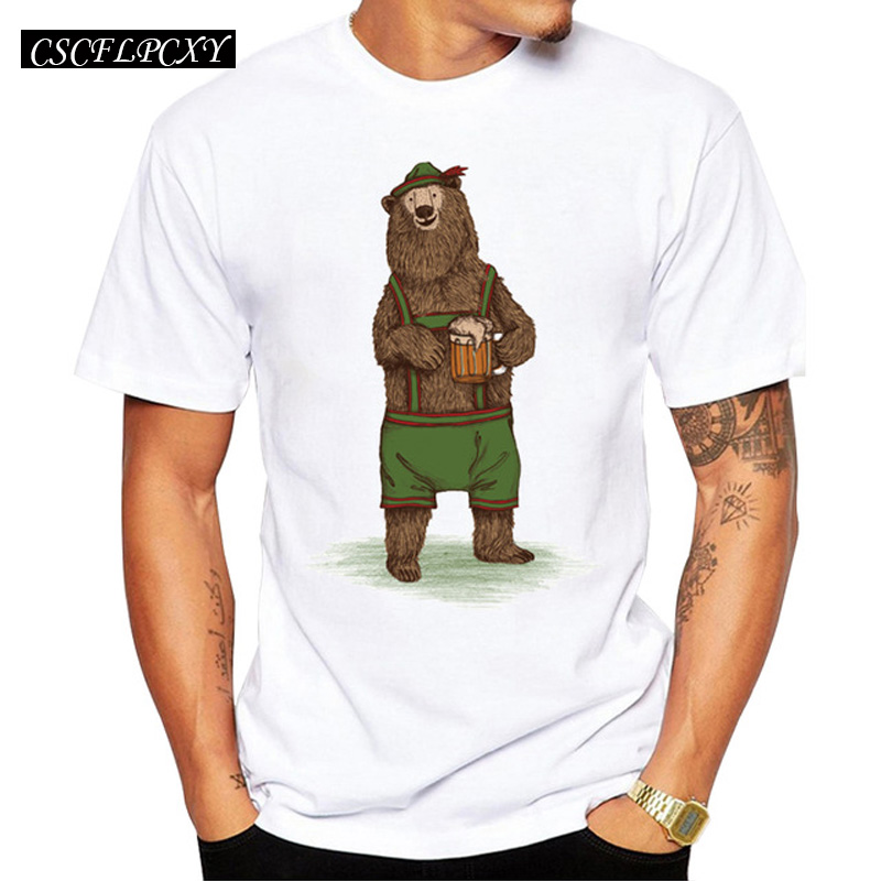 2019 Men Customized T-shirt Fashion Traditional German Bear Design Short Sleeve Men T Shirts Hipster Casual Tops