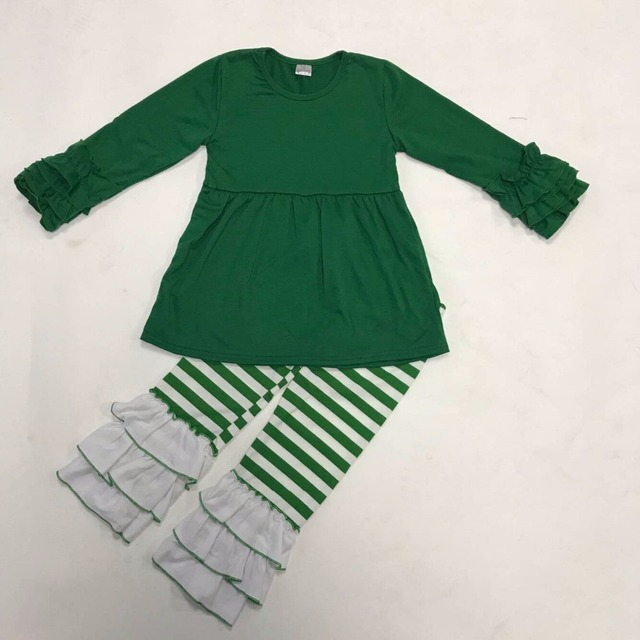 a4470cade628 High Quality Persnickety Remake Christmas Girls Clothing GreenTop White  Triple Ruffle Pants Wholesale Cheap Boutique Outfit C038