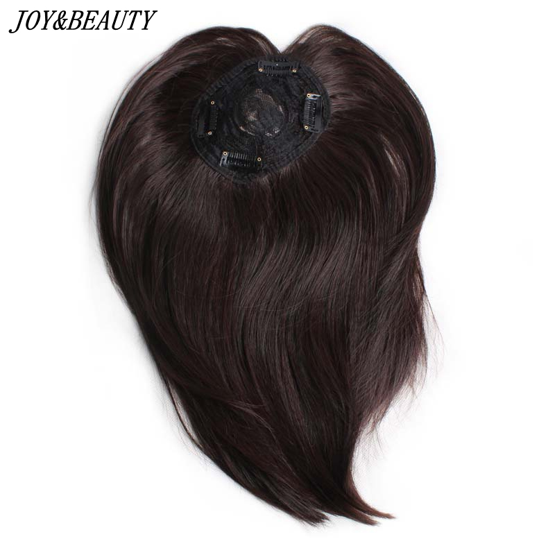 JOY&BEAUTY 10 Inch Synthetic Hair Clip In Toupee Hairpieces Straight Hair Bang Fringe Top Closures Hairpins For Men And Women