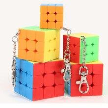 Мини Moyu mofangjiaoshi Магическая Скорость 3x3x3 куб брелок без наклеек куб брелок Головоломка Куб игрушки на цепочке для ключей для детей