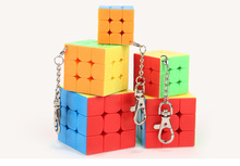 Mini Moyu mofangjiaoshi  Magic Speed 3x3x3 cube keychain stickerless Cube Keyring puzzle cube key chain toys for children mini finger magic cube key chain