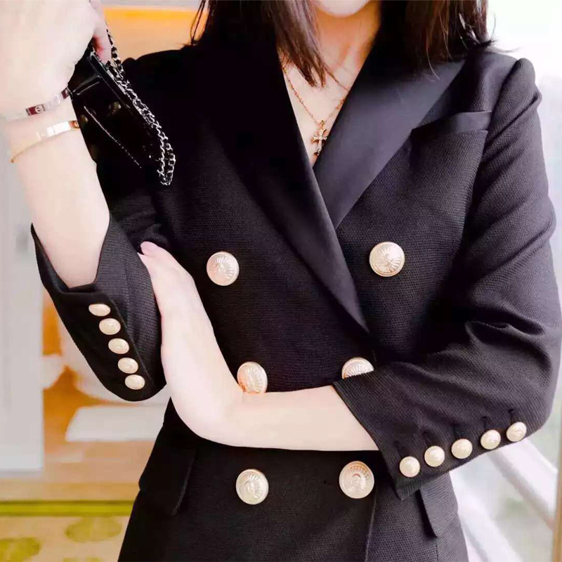 Women Blazers 2016 Spring Autumn Long Blazer Long Sleeve Office Blazer jacket Outwear  Golden Double Breasted Blazer Jacket Suit