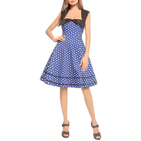 retro dot polka printed vintage dress square collar bowknot elegant swing dress women 1950s summer party vestidos WS8976E
