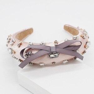 Image 3 - Baroque fashion luxury ball headband rhinestone bow headband headband hair band female girl hair accessories 965