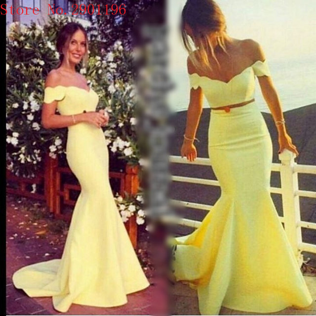 Sexy Off Shoulder Tight Yellow Two Piece Prom Dresses Long Mermaid