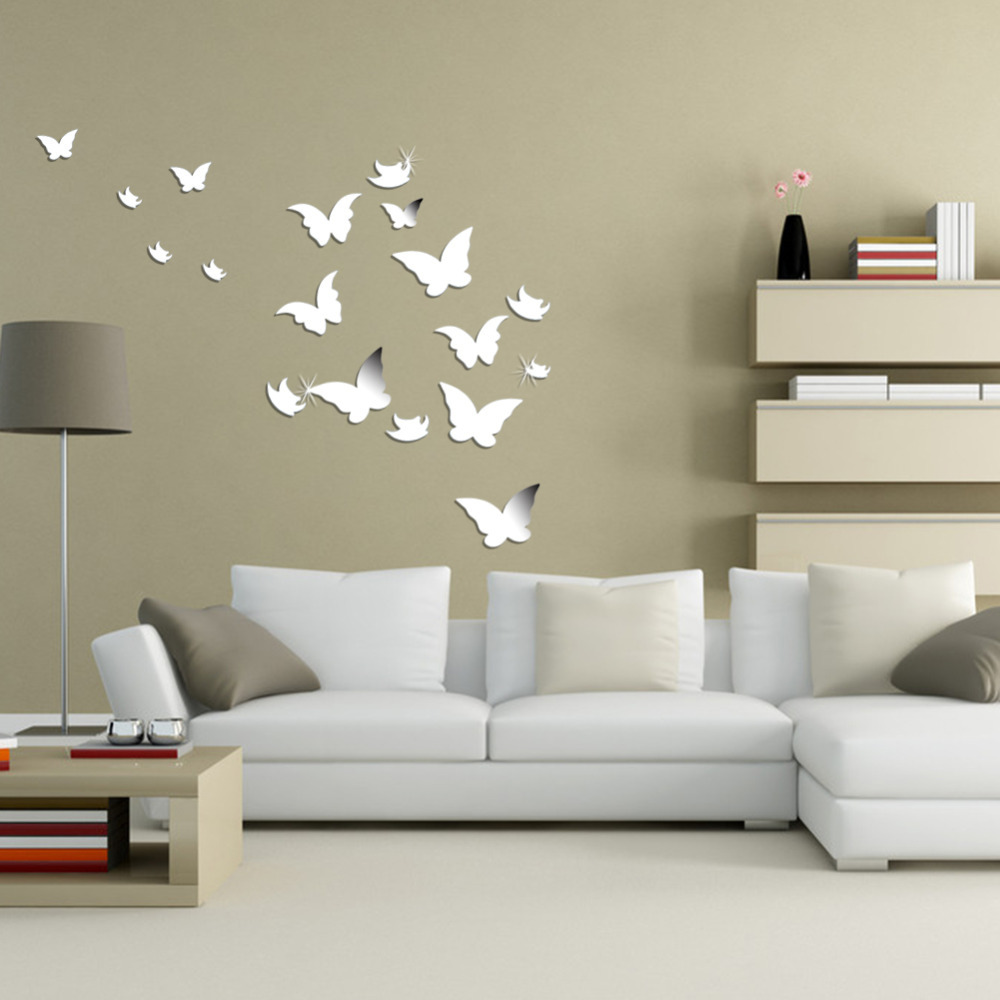 popular wall acrylic mirror buy cheap wall acrylic mirror lots 20 pcs 3d modern wall stickers silver butterfly shaped acrylic mirror surface wall stick home office
