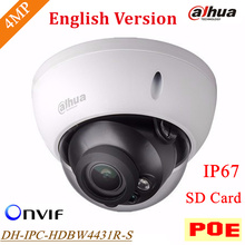 New English Version Dahua DH-IPC-HDBW4431R-S IP Camera 4MP H.265 Support POE and SD Card up to 128G IP67 IPC-HDBW4431R-S