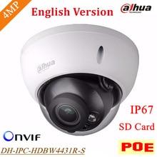 Новая Английская Версия DH-IPC-HDBW4431R-S Dahua IP Камера 4MP H.265 Поддержка POE и SD Карт до 128 Г IP67 IPC-HDBW4431R-S