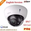 Nova versão inglês dahua dh-ipc-hdbw4431r-s 4mp câmera h.265 ip poe apoio e cartão sd de até 128g ip67 ipc-hdbw4431r-s