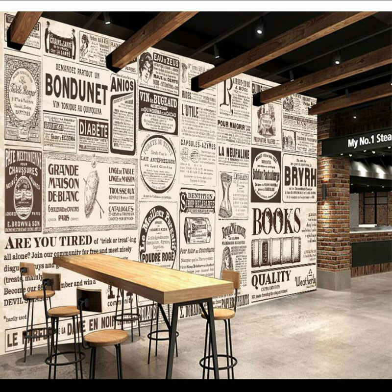 European nostalgic newspaper 3D wallpapers 3d wall paper decorative painting wallpaper for wall home improvement living room home improvement decorative painting wallpaper for walls living room 3d non woven silk wallpapers 3d wall paper retro flowers page 4