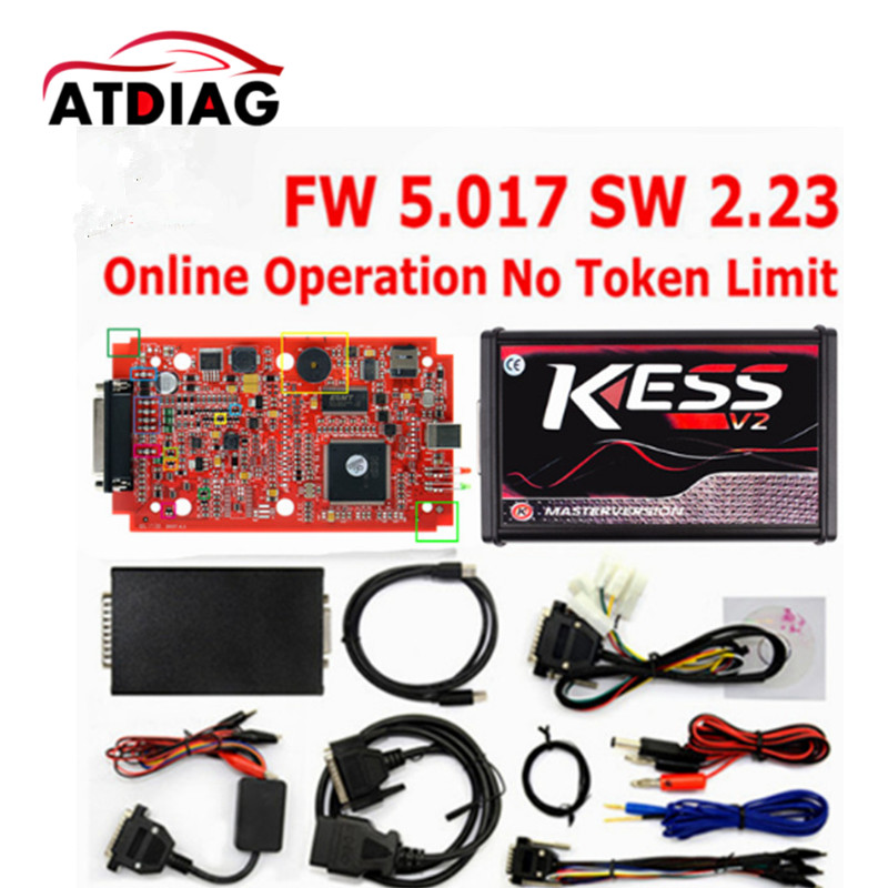 Unlimited Tokens Ktag K TAG V7.020 KESS REAL EU V2 V5.017 SW V2.23 Master ECU Chip Tuning Tool KESS 5.017 Red PCB Online top rated ktag k tag v6 070 car ecu performance tuning tool ktag v2 13 car programming tool master version dhl free shipping