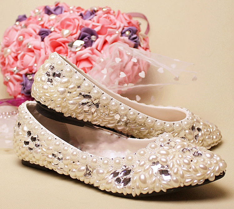 Ivory Imitation Flat Heel Pearl lady's formal shoe Lady Beaded Bridal Evening Party Wedding Bridesmaid Shoes Popular Formal Shoe gorgeous full pearls high heel lady s formal jeweled women s beaded bridal evening wedding prom party bridesmaid shoes