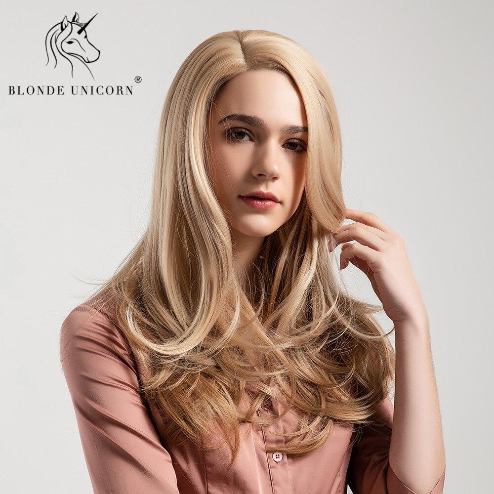 Blonde licorne synthétique vague naturelle