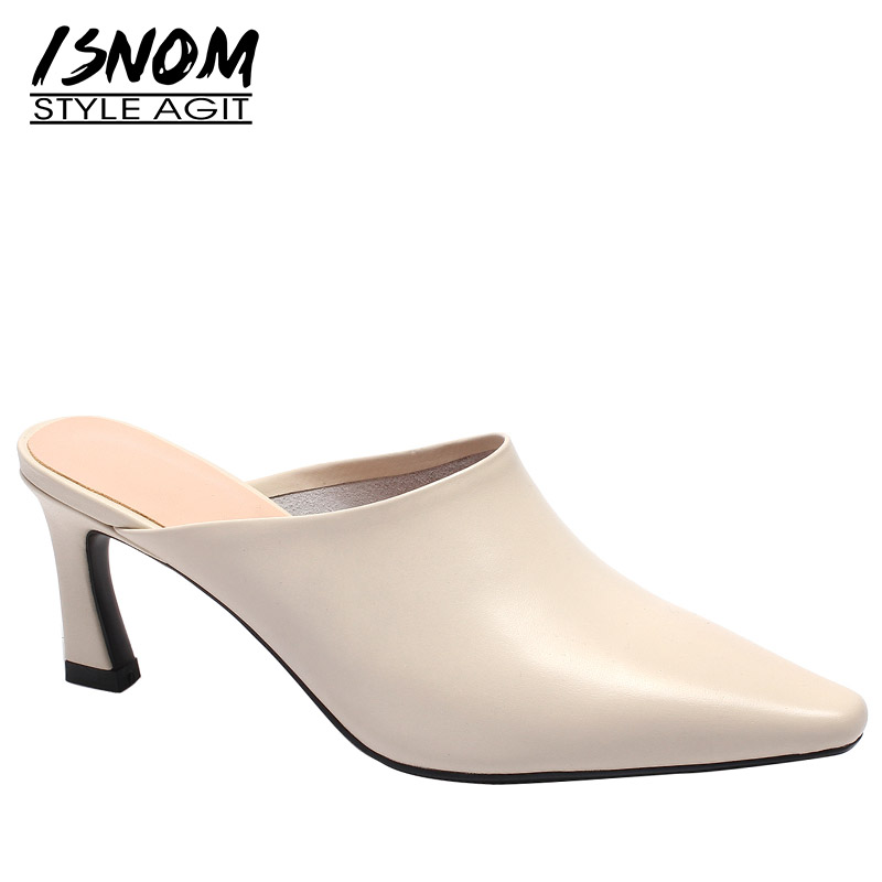 ISNOM Cow Leather Woman Slippers Square Toe Footwear Thick High Heels Slides Female Shoes Mules Shoes