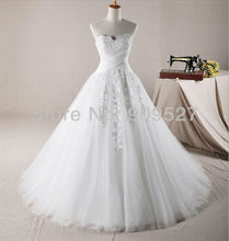 Wholesale - 2014 New Arrival Gorgeous A-line Wedding gown Strapless Floor length Flower Ball Gown Dresses