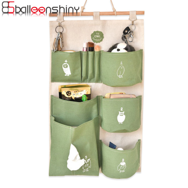 BalleenShiny 35*60cm Cotton&Linen Hanging Storage Bag Door Wall Mounted Jewelry Closet Cosmetic Organizer