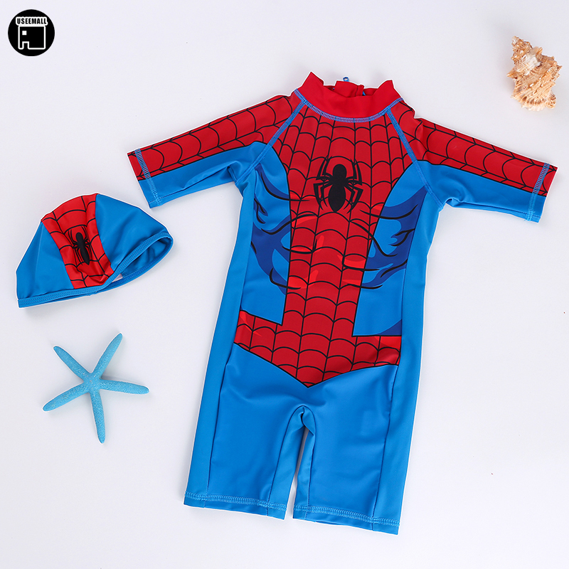 USEEMALL Spiderman Boys Girls Swimwear Brand Summer Baby Kids Swimsuits One Pieces Swimming Clothes Cute Bathing Suits 2-8Years