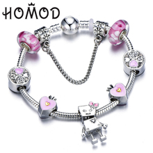 HOMOD Dropshipping Romantic DIY Bella Charm Bracelet Pink Heart Crown Beads Brand Bracelet for Women Couple Jewelry Gifts chic crown pattern heart bracelet for women