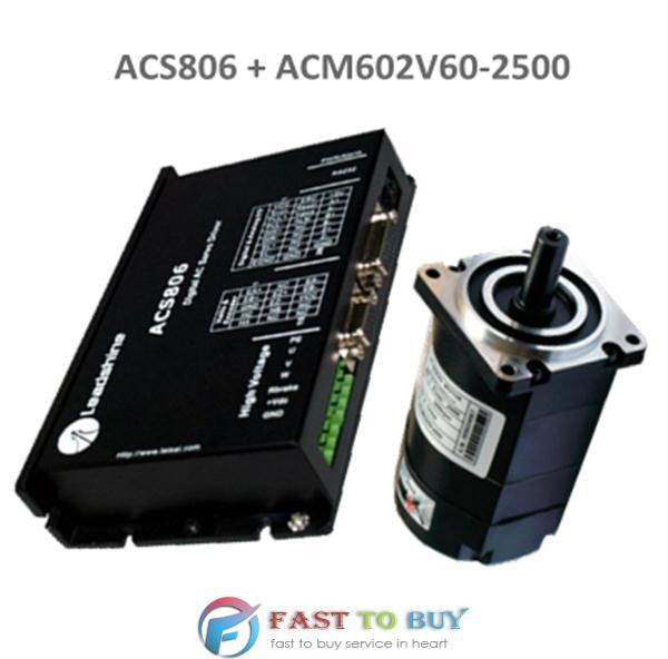 Leadshine 200W Brushless AC Servo Drive and Motor Kit ACS806 + ACM602V60-2500 New new original 220v 200w 3 axis mr j4w3 222b ac servo drive