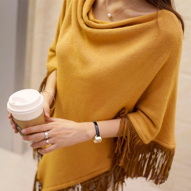 Ponchos Women Knitted Sweaters Coats 2019 Spring Autumn Solid Elegant Pullover Jumper Irregular Tassel Hem Cape Cloak Pull Femme