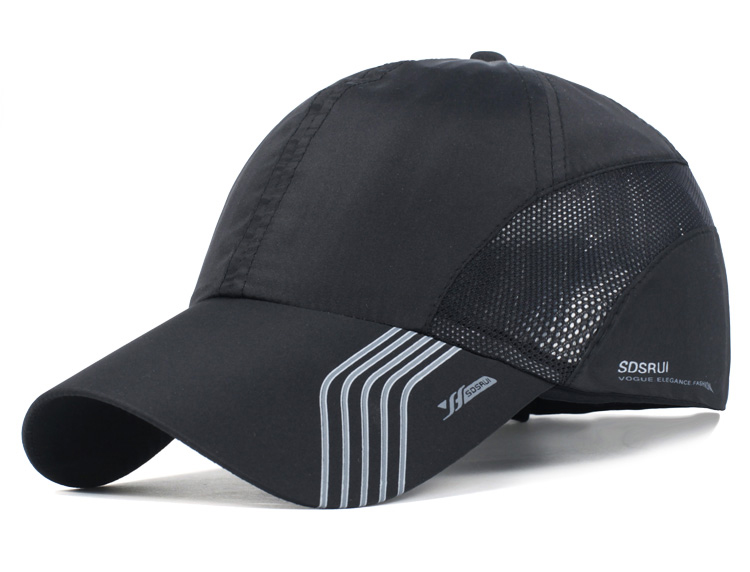Striped Brim Sporty Baseball Cap - Black Cap Front Angle View