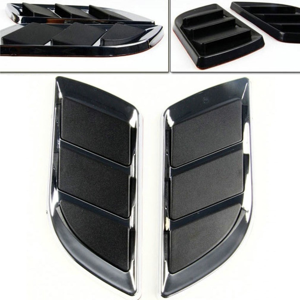 Universal Car Decorative Stickers ABS Car Air Flow Intake Scoop Vent Cover Hood Stylish Car Modification Accessory hot selling car modification tuyere decorative electroplated abs plastic panel black silver