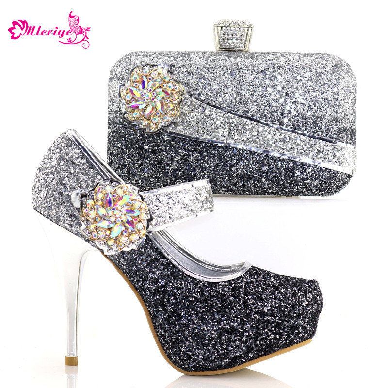 8886-1 New Arrival Black Color African Women Matching Italian Shoes and Bag Set Decorated with Rhinestone Italian Ladies Shoe все цены