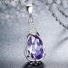 PINKSEE 1 Pc Pedra Natural de Cristal Gota de Água Colar Pingente Projeto Original Na Moda Presentes Da Festa de Jóias para As Mulheres