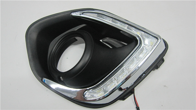 For Mitsubishi ASX 2013 2014 dimming style Relay Waterproof 12V  LED Car light DRL Daytime running lights with fog lamp hole led car drl daytime running lights with black matt fog lamp hole for 2010 2013 volkswagen vw polo hatchback waterproof style