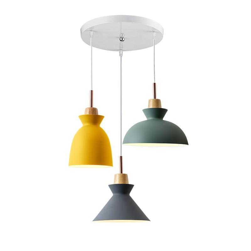 Colorful Minimalist Design: Fashion Creative Modern Wood Colorful Pendant Lights