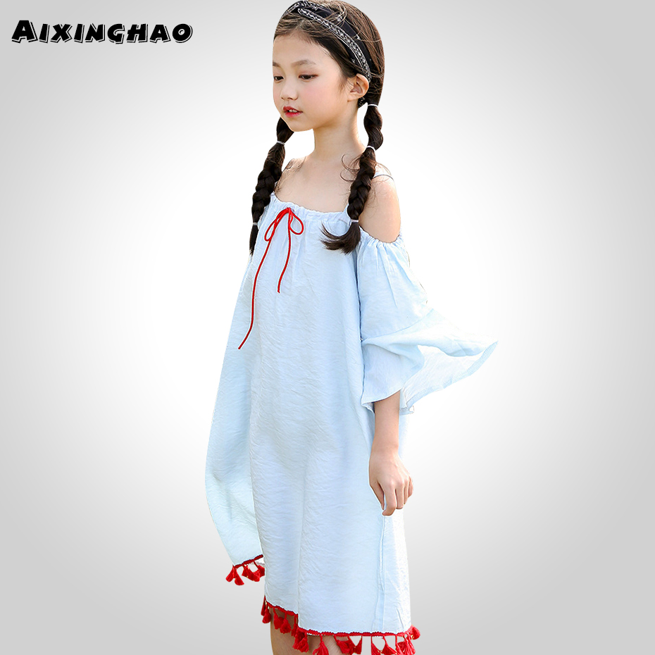 Aixinghao Girls Summer Dress Off Shoulder Solid Party Dress For Girls Flare Sleeve Dress Girls 8 10 12 14 Year Kids Teen Clothes a15 girls dress summer 2017 casual blue white kids dresses for girls off shoulder teenage girl clothing children 8 10 12 14 year